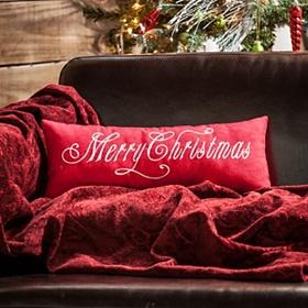 Red Merry Christmas Accent Pillow