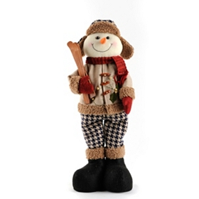 Tan Plush Skiing Snowman