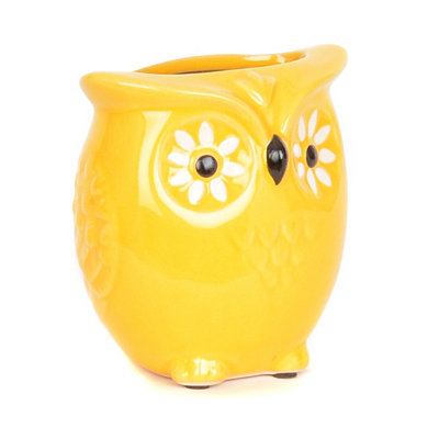 Sunflower Yellow Owl Vase