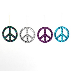 Jeweled Peace Sign Ornaments