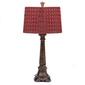Wine Red & Bronze Table Lamp