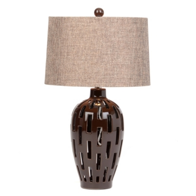 Brown Ceramic Cut-Out Table Lamp