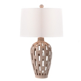 Taupe Ceramic Cut-Out Table Lamp
