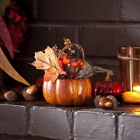Natural Pumpkin Basket Arrangement