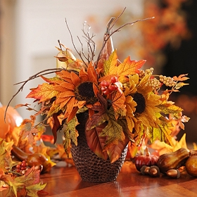 Sunflower & Gourd Floral Arrangement
