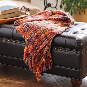 Red Loom Woven Throw Blanket