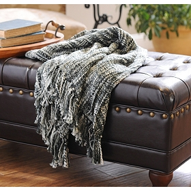 Black Loom Woven Throw Blanket