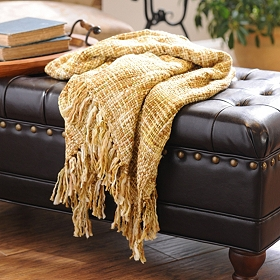Gold Loom Woven Throw Blanket