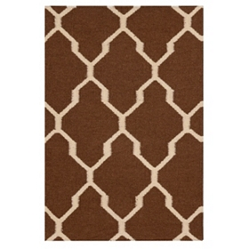 Brown Geometric Hand-Woven Accent Rug