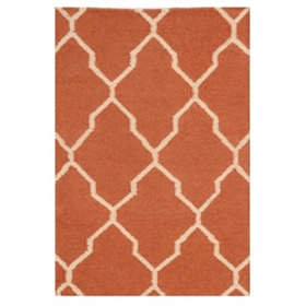 Orange Geometric Hand-Woven Accent Rug