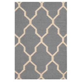 Gray Geometric Hand-Woven Accent Rug
