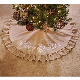 Merry Christmas Burlap Tree Skirt