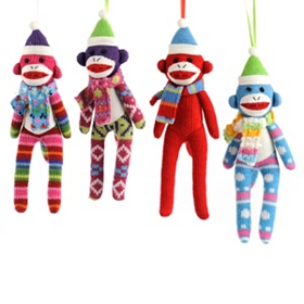 Sock Monkey Ornament, Set of 4