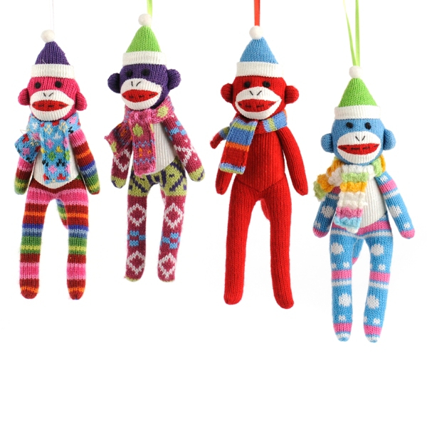 Set of 4 nine inch tall sock monkey ornaments