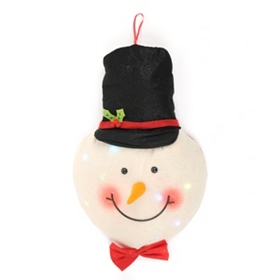 Pre-Lit LED Plush Snowman Wall Décor