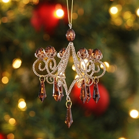 Champagne Jeweled Chandelier Ornament