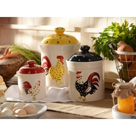 Ceramic Rooster Canister, Set of 3