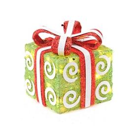 Pre-Lit Swirly Green Sisal Gift, 6x6