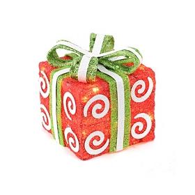 Pre-Lit Swirly Red Sisal Gift, 6x6