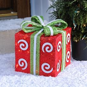 Pre-Lit Swirly Red Sisal Gift, 10x10