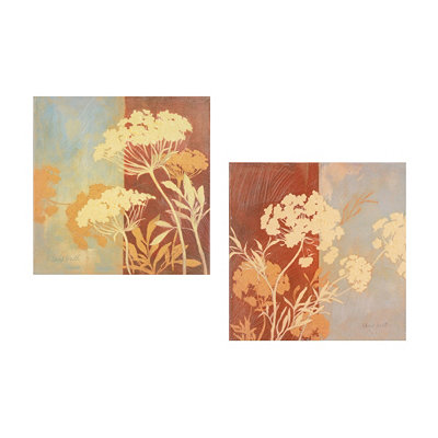 Floral Silhouette Canvas Art, Set of 2