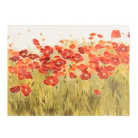 Poppies in the Field Canvas Art Print