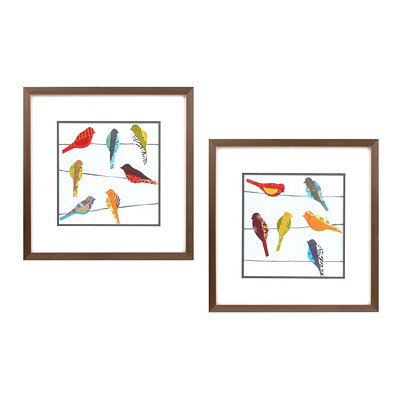 Birds on a Wire Framed Art, Set of 2