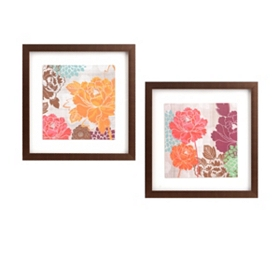Florescent Flowers Framed Art, Set of 2