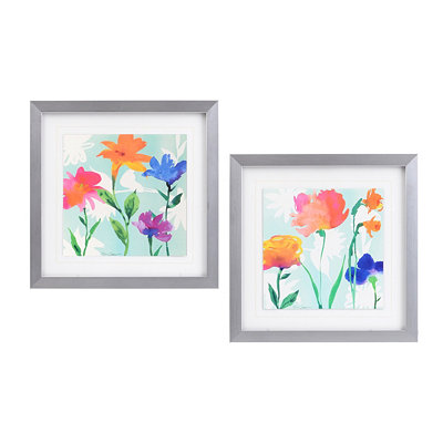 Flowers in Watercolor Framed Art, Set of 2