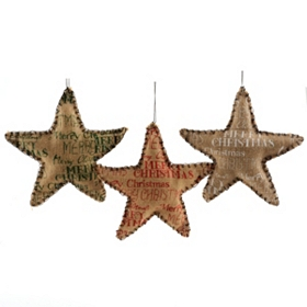 Screen Printed Burlap Star Ornaments