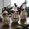 Rustic Snowman Statues, Set of 3