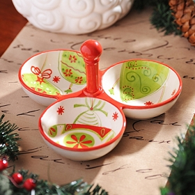 Holiday Whimsy 3-Bowl Serving Dish