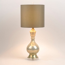 Silver & Cream Mercury Glass Table Lamp