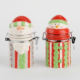 Holiday Knit Ceramic Canisters