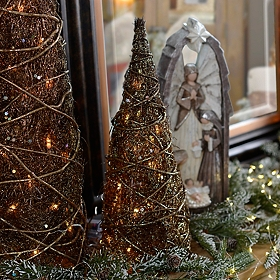 Pre-Lit Bronze Christmas Tree, 20 in.