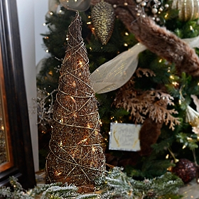 Pre-Lit Bronze Christmas Tree, 24 in.