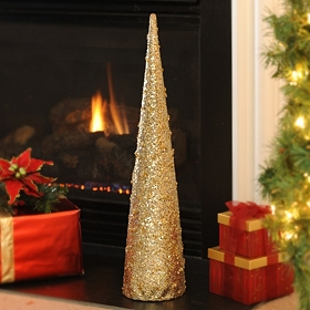 Sparkling Champagne Cone Tree, 29 in.