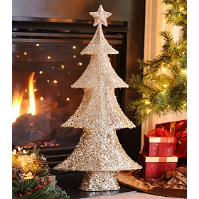 Champagne Tinsel Tree, 34in.