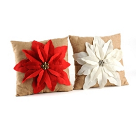 Poinsettia Jingle Throw Pillow