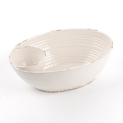 Ivory Ceramic Chip & Dip Bowl