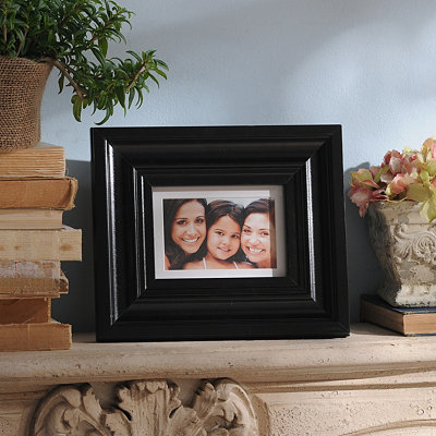 Polished Black Wood Picture Frame, 5x7