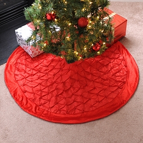 Red Pin Tuck Tree Skirt