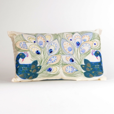Peacock Embroidered Gem Pillow