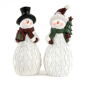 Knit Snowmen Statues, Set of 2