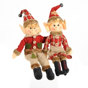 Red Plaid Elf, Set of 2
