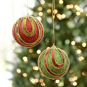 Glitzy Swag Ornament, Set of 2