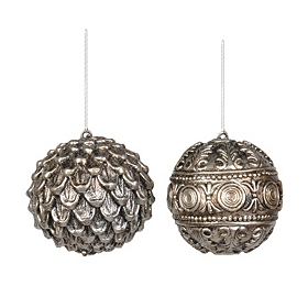 Antiqued Silver Ornaments