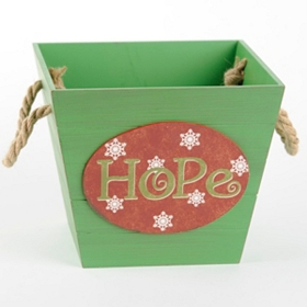 Green Wooden Hope Basket