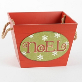Red Wooden Noel Basket