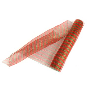 Wide Red & Green Mesh Ribbon